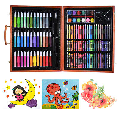 148pcs Art Set Wooden Case Markers Pencils Crayons Oil Pastels Watercolor T2H7 • 29.66£