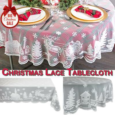 Christmas White Lace Tablecloth Round Rectangle Table Cover Home Party Decor UK • 7.79£