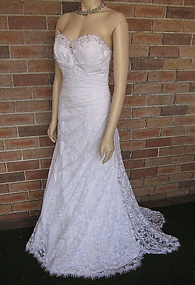 AU120 • Buy Alfred Angelo Strapless Bodice Lace Wedding Dress ~ Size 12 ~ As New!