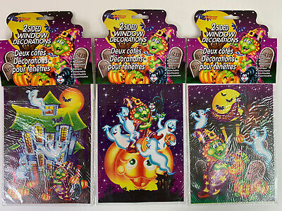 $ CDN7.27 • Buy 3 VINTAGE HALLOWEEN Decorations 2 SIDED WINDOW CLINGS Witch Ghost Pumpkin NOS