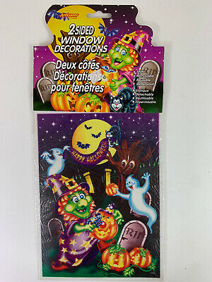 $ CDN4.84 • Buy VINTAGE HALLOWEEN Decoration 2 SIDED WINDOW CLING Witch Ghost Pumpkin NOS