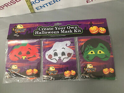 Create Your Own Halloween Mask Kit, Pack Of 3, Dress Up - NEW, Sealed • 2.49£