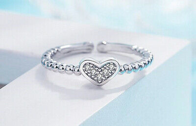 £2.97 • Buy Crystal Heart Adjustable Ring 925 Sterling Silver Womens Girls Jewellery Gift UK
