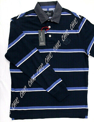 Marks & Spencer Mens Pure Cotton Striped Rugby Polo M&S T Shirt Top Size Small • 10.95£