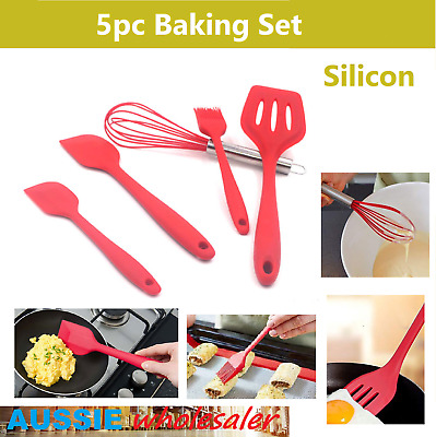 AU15 • Buy 5pc Silicone Heat Resistant Spatula Brush Whisk Baking Tool Utensil Set Red
