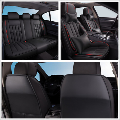 $ CDN172.56 • Buy Deluxe Edition PU Leather Seat Cover Cushion With Headrest Fit For 5-Seats Car