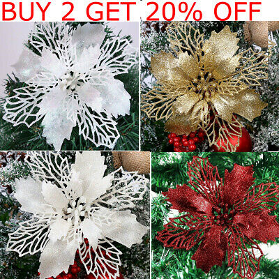 10 X Christmas Poinsettia Glitter Flower Tree Hanging Xmas Party Tree Decoration • 4.99£