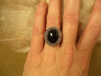 £36.04 • Buy Vintage Sterling Silver Onyx & Marcasite Victorian Mourning Ring, Size 5