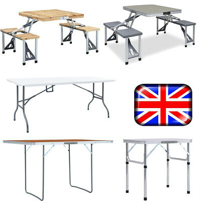 *BBQ Portable Folding Picnic Table & Chairs Dining Camping Outdoor Lightweight • 46.75£