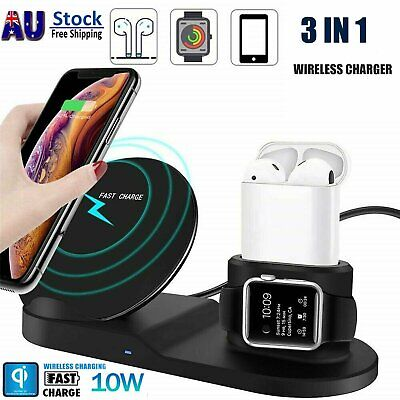 AU27.99 • Buy 3in1 10W Fast Charging Qi Wireless Charger Dock For Apple IPhone IWatch Earphone