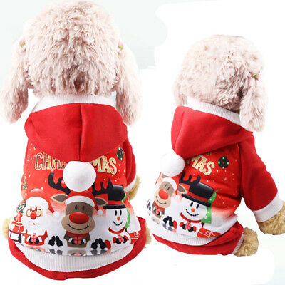 Christmas Santa Claus Coat Costume Outfit Pet Puppy Dog Cat Xmas Clothes Jumper • 4.99£