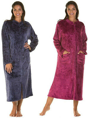 Lady Olga Sweet Embrace Soft Feel Embossed Zip Front Dressing Gown Housecoat  • 22.99£