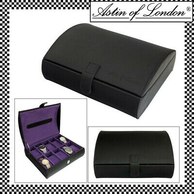 Astin Of London® Gents Pu Leather 10 Compartment Watch Box Case Purple Interior • 18.95£