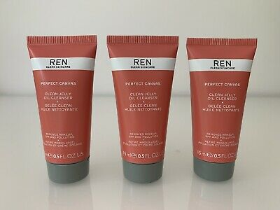 3 X REN Perfect Canvas Clean Jelly Oil Cleanser - 15ml Each - SEALED • 11.99£