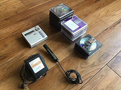 SONY MZ N707 MiniDisc Player NET MD With Microphone & 24 Used MiniDiscs • 119£