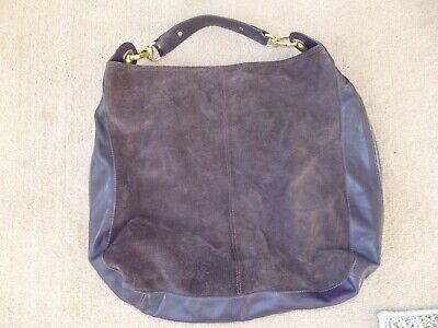 Autograph M&s Highly Desirable Large Purple Suede Slouch Leather Shoulder Bag  • 29£