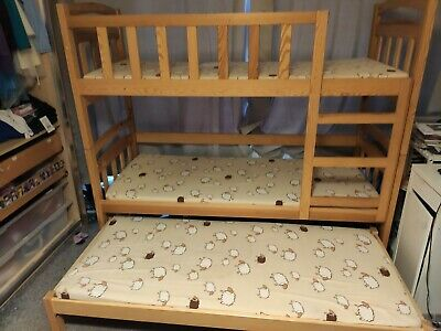 Double / Triple Bunk Bed + 3 Mattresses + Storage Drawers Solid Wood • 150£