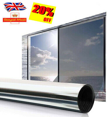 Reflective One Way Mirror Window Film Mirrored Privacy Sticky Glass Tint SS • 6.49£