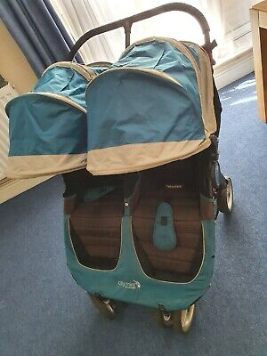 Baby Jogger City Mini Double Pushchair In Teal/Gray • 90£