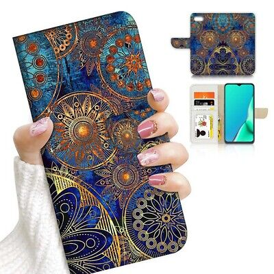 AU12.99 • Buy ( For Huawei Y5 Prime [2018] ) Wallet Case Cover AJ23992 Abstract Mandala