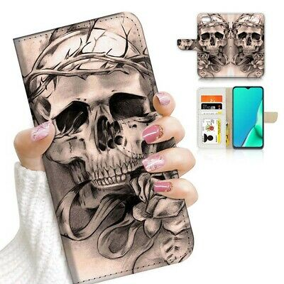 AU12.99 • Buy ( For Huawei Y5 Prime [2018] ) Wallet Case Cover AJ23578 Skull