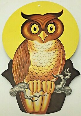 $ CDN46.42 • Buy Vintage Halloween Owl Full Moon Cardboard Diecut Die Cut Out Dennison USA
