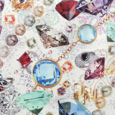 Cotton Fabric By The Yard Gem Fabric 44  Wide KW Jewelry Laceking • 10.03£