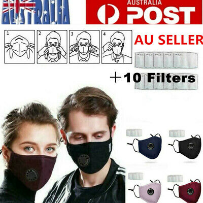 AU11.95 • Buy Washable Reusable Cotton Fabric Face Mask Respirator Mask+10 Free PM2.5 Filters