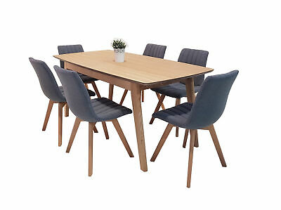 AU599 • Buy NEW Alexandria 1.8 Extendable Dining Table 6 Grey Fabric Chairs In Solid Timber