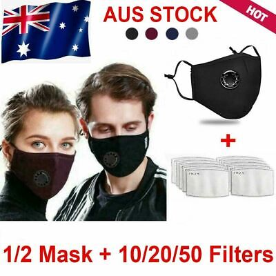 AU8.90 • Buy Washable & Reusable Protective Cotton Face Mask Filter Mouth Mask & 10 Filters