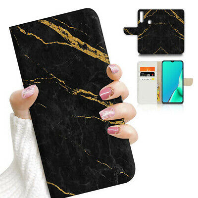 AU12.99 • Buy ( For Vivo Y12 / Y15 / Y17 ) Wallet Case Cover AJ23776 Black Marble