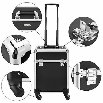 Aluminum Cosmetic Trolley Case Professional Make Up Nail Artist Beauty Box Large • 36.66£