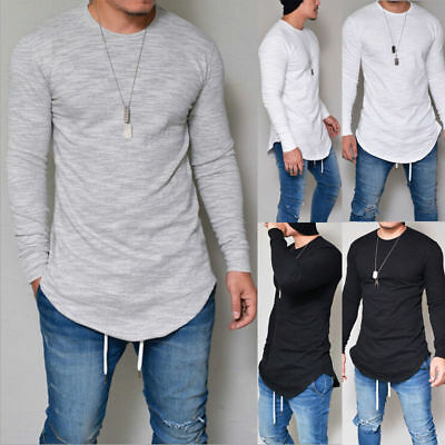 Mens T Shirt Casual Plain Long Sleeves Plain Tunic Shirts Slim Fit Tops Pullover • 9.69£