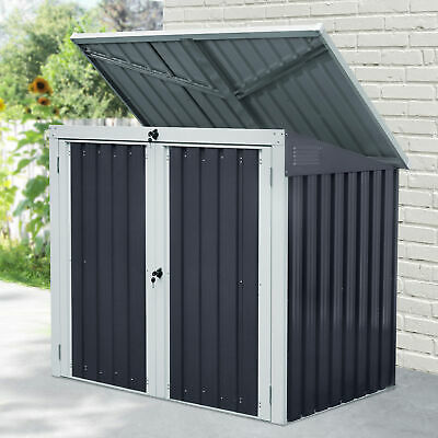 2-Bin Corrugated Steel Rubbish Storage Shed W/ Locking Doors Lid Hygienic Unit • 184.99£