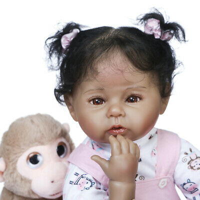 $ CDN67.66 • Buy Reborn Baby Dolls 20  Silicone Vinyl Girl Cloth Body Black African American 50CM