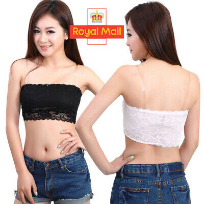 Women Franch Floral Lace Boob Stretch Bandeau Tube Girl's Bra Cami Top Strapless • 1.89£