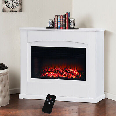 Electric Fire Wall Mount Fireplace LED Backlit Insert Flame Heater Mantel Stove • 289.95£