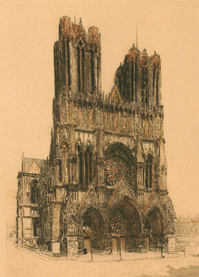 £44.30 • Buy E.H. Barlow (fl.1915-1926) - Early 20th Century Etching, Reims Cathedral