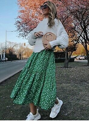 H&M Green Floral Ditsy Button Up Midi Shirt Dress XS BLOGGERS FAV SOLD OUT • 21.50£