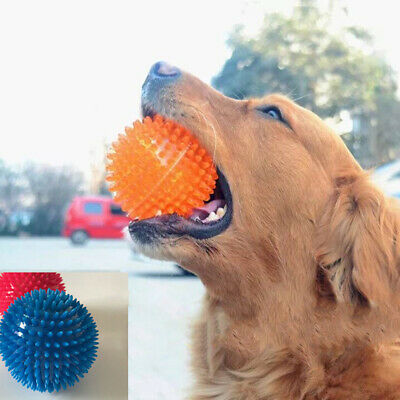 Dog Rubber Toy Bouncy Floating Teeth Cleaning Spiky Squeaky Ball Dog ToysLDUKPT • 5.91£