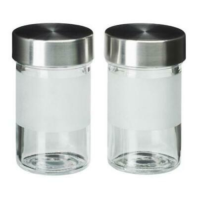 New In Box Pair Of Ikea DROPPAR 3 Oz Spice Jars Glass Stainless Discontinued • 14.46£