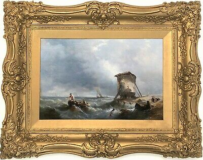 Fishing Boats Sea Antique Marine Oil Painting By Alfred William Hunt (1830-1896) • 232£
