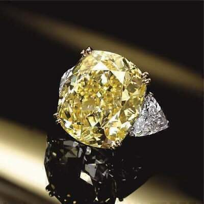 4.00 Ct Canary Yellow Cushion Cut Diamond Engagement Ring In 14k White Gold Over • 99.89£