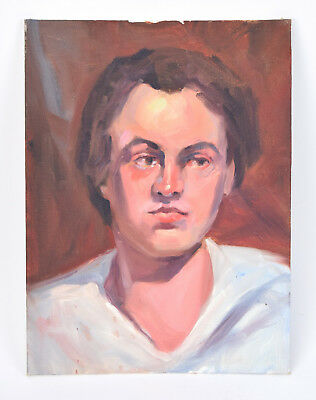 Vintage Oil Painting Portrait Of Young Man In White Shirt Gazing Left • 63.97£