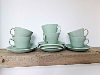 6 Woods Ware Green Beryl Tea Cups And Saucers Vintage Utility 40s 50s  • 24£