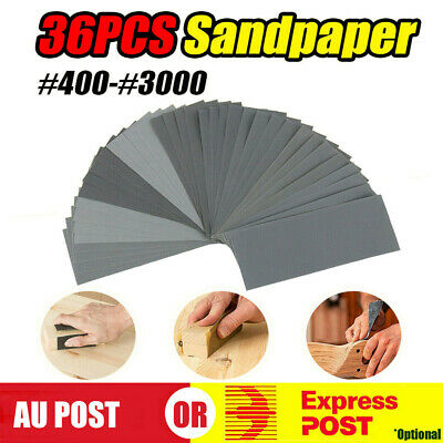 AU13.99 • Buy 36PCS Sandpaper Mixed Wet And Dry Waterproof 400-3000 Grit Sheets Assorted Wood
