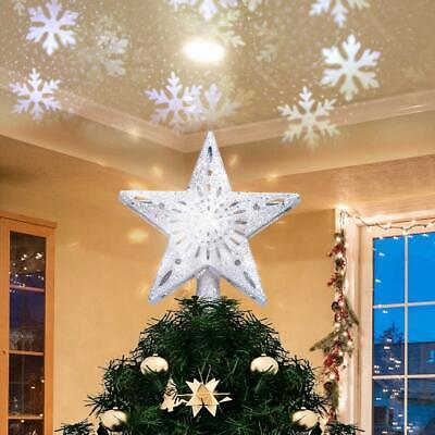 3D Hollow Star Christmas Tree Topper LED Snowflake Projector Lights Decoration • 13.01£