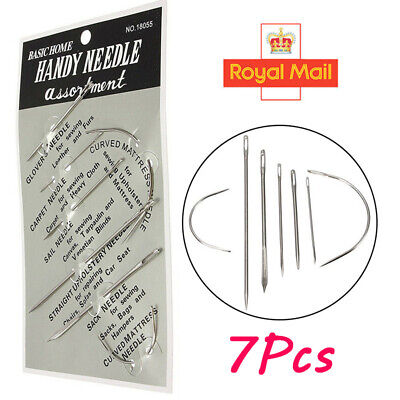 7 Hand Repair Upholstery Sewing Needles Curved Craft Carpet Leather Blanket Tent • 1.59£