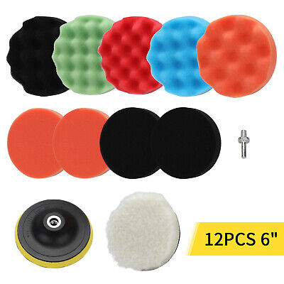12pcs 6  Buffing Waxing Polishing Sponge Pads Kit Set For Car Polisher Drill UK • 11.99£