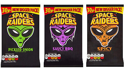 36 Pack Space Raiders Pickled Onion / Saucy BBQ / Spicy Crisps Corn Snack • 14.99£